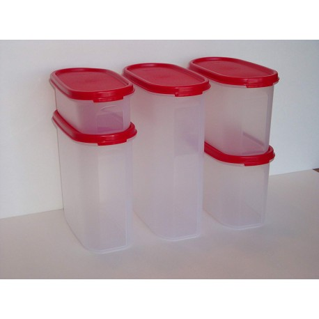 Tupperware Modular Mates Oval 5 Pc Set Red