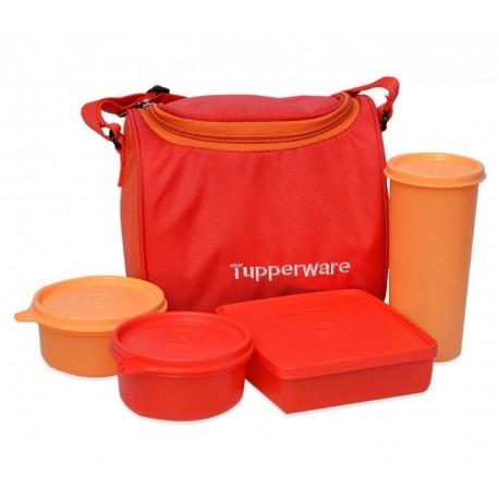Tupperware Plastic Lunch Bag Set with Bag, 4-Pieces, Multicolour