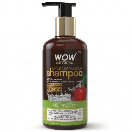 WOW Apple Cider Vinegar Shampoo - 300 mL - No Sulphate - No Parabens - Infused Organic Natural Apple Cider Vinegar