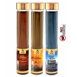 The Aroma Factory Pooja Agarbatti Combo of 3 : Rose, Kesar Chandan Saffron Sandal and Fresh Active Incense Sticks