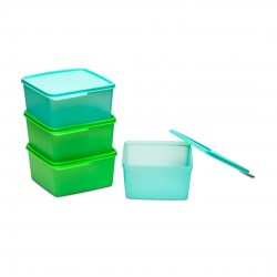 Tupperware Square Refrigerator Container Keep Tab 1.2l 4pc