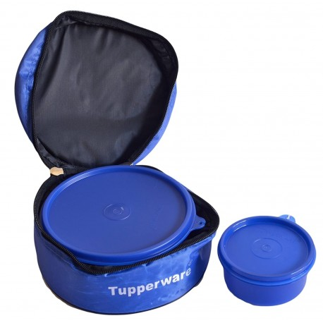 Tupperware Classic Plastic Lunch Box with Bag, 2-Pieces Blue