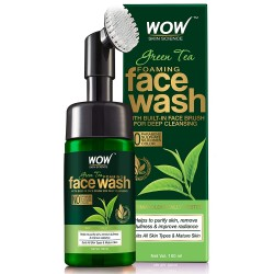 WOW Skin Science Green Tea Foaming Face Wash with Built-In Face Brush - With Green Tea & Aloe Vera 100ml