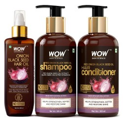 WOW Skin Science Onion Black Seed Oil Ultimate Hair Care Kit (Shampoo + Hair Conditioner + Hair Oil), 800 ml