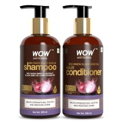 WOW Skin Science Red Onion Black Seed Oil Shampoo & Conditioner Kit 600ml