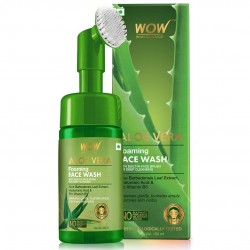WOW Skin Science Aloe Vera Foaming Face Wash With Built-In Face Brush For Deep Cleansing 100ml