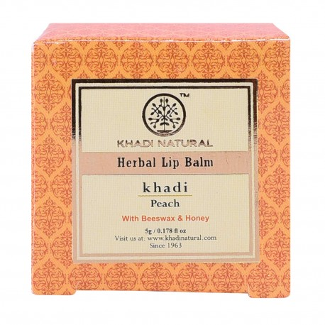 Khadi Natural Peach Lip Balm with Beeswax and Sheabutter, 5gms