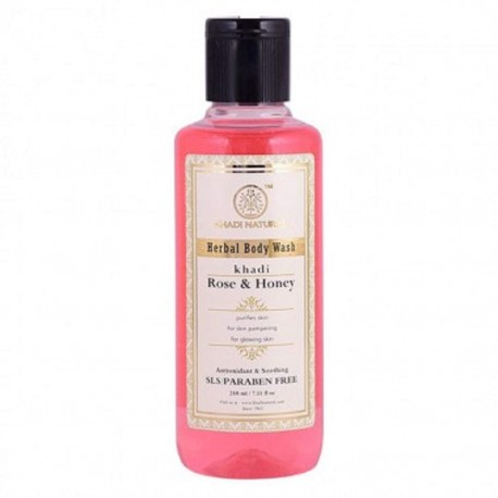Khadi Natural Rose and Honey Body Wash 210ml