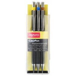Aristo AR85009 Geo-Pen Fine Lead Pens HB Set of 3 Black