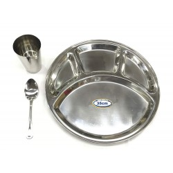 Stainless Steel 4 Compartment 3pc Thali Set Dinner Set Bhojan Plate Spoon Glass 35cm